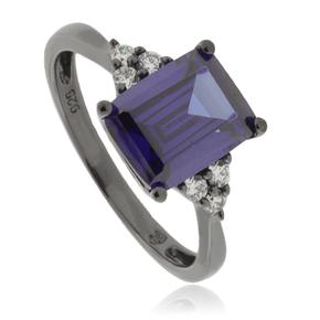 Emerald Cut Tanzanite Black Silver Ring