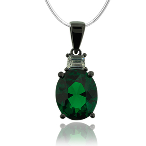 Beautiful Oxidized Silver and Oval cut Emerald Pendant