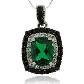 Sterling Silver Pendant With Emerald and Simulated Diamonds