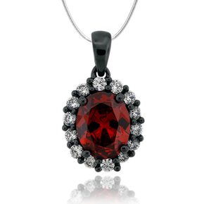 Oval Cut Fire Opal Pendant With Simulated Diamonds and Oxidized Silver