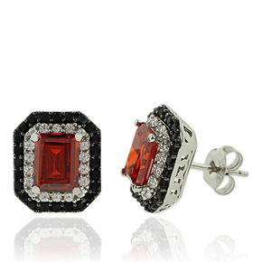Sterling Silver and Emerald Cut Fire Opal Earrngs with Simulated Diamonds