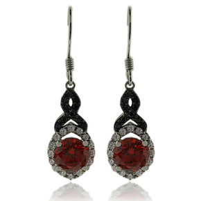 Gorgeous Round Cut Fire Opal Earrings In Sterling Silver with Zirconia