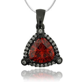 Trillion Cut Fire Opal Pendant With Oxidized Silver and Simulated Diamonds