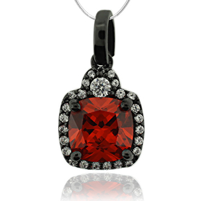 Beautful Oxidized Silver and Fire Opal Pendant with Simulated Diamonds
