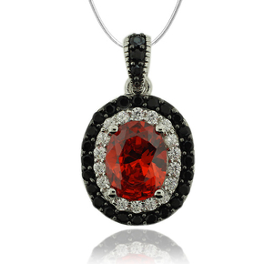 Sterling Silver Pendant With Oval Cut Fire Opal And Simulated Diamonds