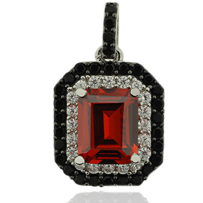 Sterling Silver Pendant With Emerald Cut Fire Opal And Simulated Diamonds