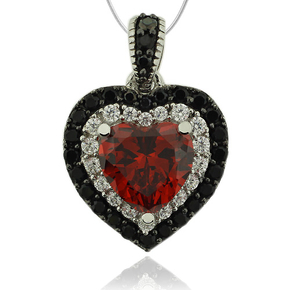 Heart Shape Sterling Silver Pendant With Fire Opal And Simulated Diamonds