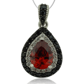 Pear Cut Sterling Silver Pendant With Fire Opal And Simulated Diamonds