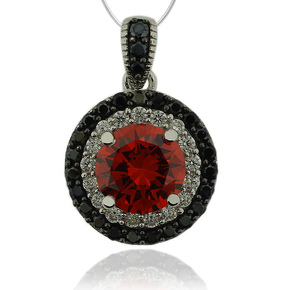Precious Sterling Silver Pendant With round cut Fire Opal And Simulated Diamonds