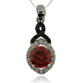Beautiful Sterling Silver Pendant with Round Cut Fire Opal And Simulated Diamonds