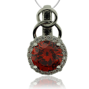 Elegant Sterling Silver Pendant With Round Cut Fire Opal