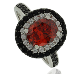 Sterling Silver ring with Oval Cut Fire Opal And Simulated Diamonds