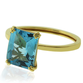 Genuine Blue Topaz 14K Yellow Engagement Gold Ring
