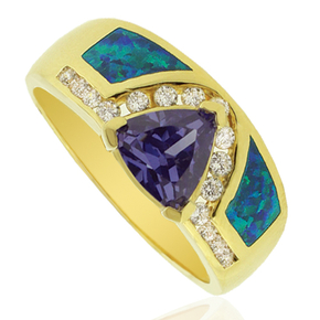 Gold Plated Ring with Australian Opal and Trillion Cut Tanzanite Gemstone