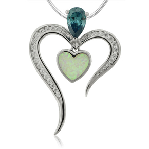 Heart Pendant with Opal and Alexandrite