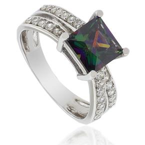 December Birthstone Mystic Topaz Ring