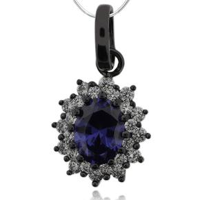 Gorgeous Oval Cut Tanzanite & Black Silver Pendant With Zirconia