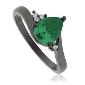 Emerald Pear Cut Silver Ring