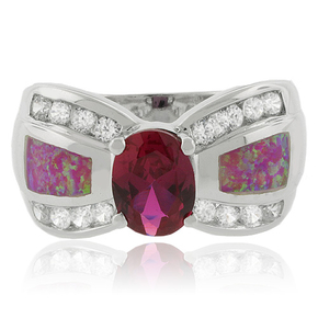 Oval Cut Lab-Created Ruby and Pink Opal Ring in Sterling