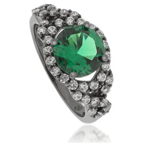 Round-Cut Emerald Black Silver Ring