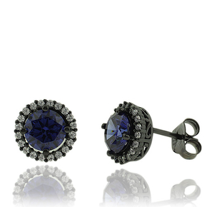 Round Cut Tanzanite Earrings with Zirconia In Black Silver.