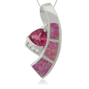 Beautiful Trillion Cut Ruby with Pink Opal and Zirconia
