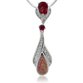 Beautiful Pear Cut Ruby and Opal Silver Pendant