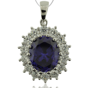 Oval Cut Tanzanite Pendant With Sterling Silver