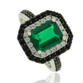 Gorgeous Emerald Ring With Simulated Diamonds