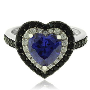 Heart Shape Sterling Silver Ring With Tanzanite and Simulated Diamonds
