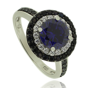 Round Cut Tanzanite Ring With Simulated Diamonds and Sterling Silver