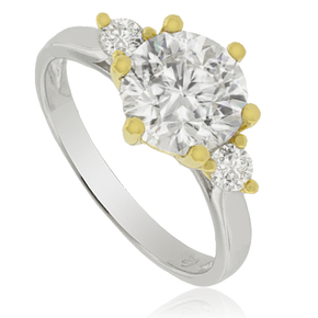 3 Stone Solitaire Ring