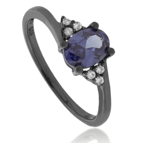 Solitaire Oval Cut Tanzanite Oxidized Silver Ring