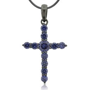 Tanzanite Black Silver Cross Pendant