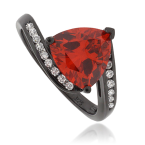 Trillion-Cut Mexican Fire Opal Black Silver Ring