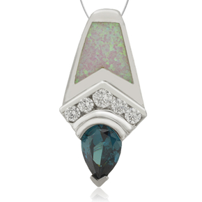 Silver Pendant With Alexandrite and White Opal