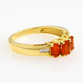 14k Solid Yellow Gold Mexican Fire Cherry Opal Diamond Ring