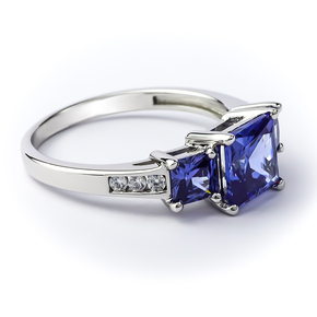 Sterling Silver 3 Stone Tanzanite Ring