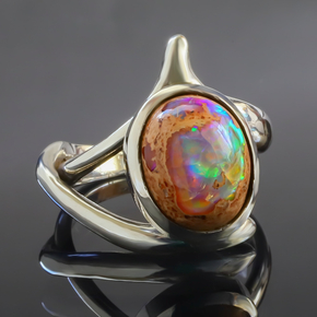 Natural Mexican Matrix Fire Opal Silver Ring 6 carat Stone