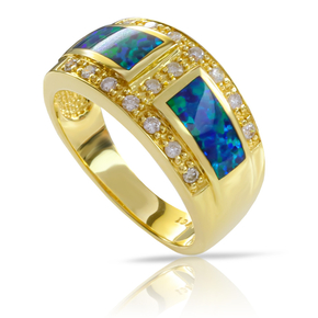 Top Quality Australian Blue Opal Diamond Gold Ring