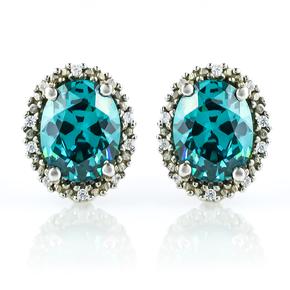 Alexandrite Silver Earrings Color Change Stone
