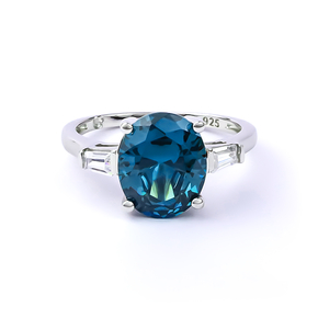 Sterling Silver Alexandrite and Cubic Zirconia Ring