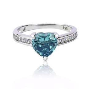 Sterling Silver Heart Shape Alexandrite and Cubic Zirconia Ring