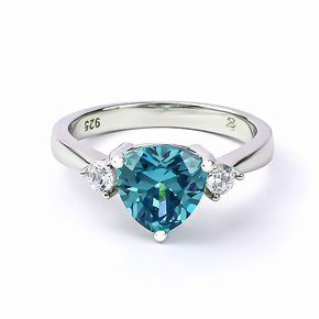 Trillion Cut Alexandrite and Cubic Zirconia Ring