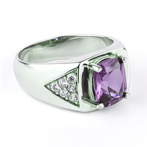 Alexandrite Purple to Bluish Color Change Sterling Silver Ring For Men