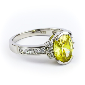 Oval Cut Yellow Citrine Silver Ring