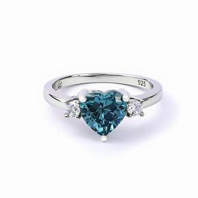 Heart Shape Cut Alexandrite and Cubic Zirconia Ring