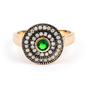 Emerald Sterling Silver Antique Finish Ring
