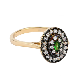Oval Cut Emerald Sterling Silver Antique Finish Ring