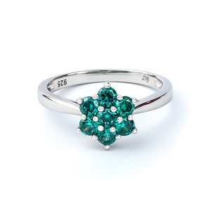 Alexandrite Flower Silver Ring With Solid Silver